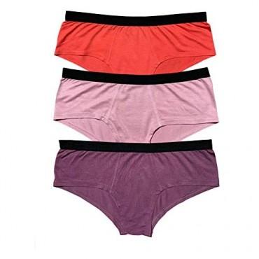 EVARI Women's Modal Cheeky Brief Soft Boyshort Panties Underwear Pack of 3