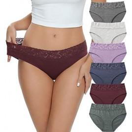 Cotton Hipster Panties for Women Lace Hiphugger Panties Bikini Underwear Pack