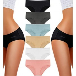 TERMEZY Underwear for Women Cotton Hipster Panties Pack of 6