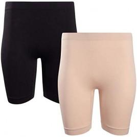 Marilyn Monroe Women's Shapewear – Seamless Tummy Control Slip Boyshort Panties High-Waisted Thigh Slimmers (2 Pack)