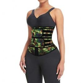 Latex Waist Trainer Corset Sport Girdle Waist Training Belt Tummy Control with Straps and Zipper Camo Geometric Pattern