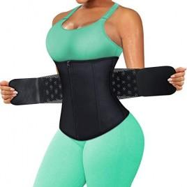 RACELO Women Workout Waist Trainer Trimmer Tummy Cincher Corset Zipper Girdle Body Shaper for Wrap Stomach Exercise