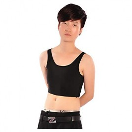 MISWSU Mesh Stretchy 20CM Chest Binder 3 Rows of Hooks for Tomboy Trans Lesbian