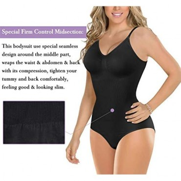 BRABIC Bodysuit Shapewear for Women Tummy Control Panties Seamless Sleeveless Tops V-Neck Camisole Jumpsuit