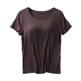 Atditama Women's Round Neck Short Cap Sleeve Wireless Built Bra Top Tee Shirt Lingerie Camis Sleepwear Tshirt with Shelf Bra Coffee US 2-4