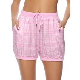 Hawiton Women Plaid Sleeping Pajama Sleepwear Exercise Fitness Shorts