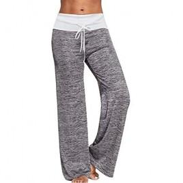 Zojuyozio Women's Comfy Pajama Pants High Waist Drawstring Palazzo Lounge Pants Wide Leg Trousers