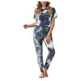Bdcoco Womens Tie Dye Printed Pajamas Set Two Piece Long Sleeve Top and Pants Joggers PJs Loungewear Nightwear