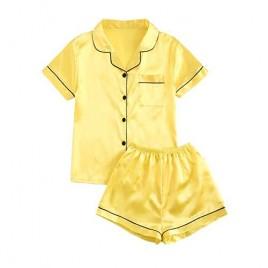 DIDK Women's Pocket Contrast Binding Satin Button Up Pajama Set