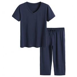Latuza Women's Cotton Pajamas Set Tops and Capri Pants Sleepwear