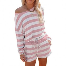 PRETTYGARDEN Women's Striped 2 Piece Outfits Off One Shoulder Pullover Tops Long Sleeve Short Pjs Loungewear with Pockets