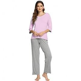 WiWi Women's 3/4 Sleeves Top with Pants Scoop Neck Sleepwear Soft Bamboo Lightweight Pjs Plus Size Pajama Set S-4X