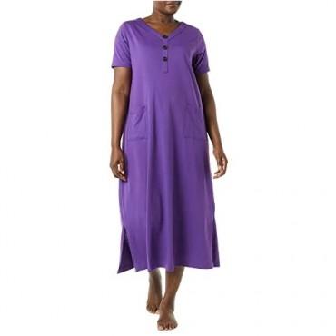 AmeriMark Women's Long Short Sleeve Nightgown or House Dress w/ V Neck & Pockets