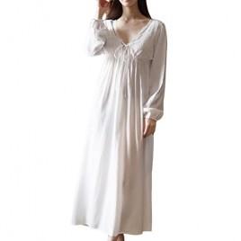 Asherbaby Women's Long Short Sleeve Vintage Lace V Neck Nightgown Cotton Sleepwear