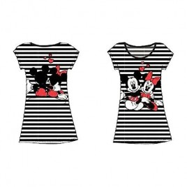 Disney Mickey and Minnie Night Gown T Shirt -Front & Back Print- Black & White Stripes
