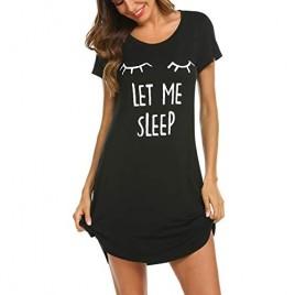Hotouch Night Shirts Womens Nightgowns Cute Round Neck Short Sleeve Printed Sleep Shirts Soft Sleepwear XS-XXL
