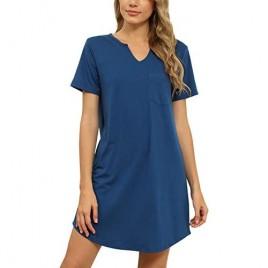 KIKIBERRY Women's Nightshirt Short Sleeve Henley V Neck Nightgown Sleepwear Pajamas Midi Dress