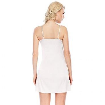 Miqieer Women's Long Silky Tank Top Adjustable Spaghetti Strap Camisole Slip Dress