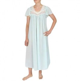 Miss Elaine Silk Essence Nightgown - Long Silky & Sheer Tricot Gown with Flutter Sleeves
