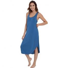 NACHILA Womens Sleeveless Nightgown Bamboo Long Racerback Tank Sleep Dress