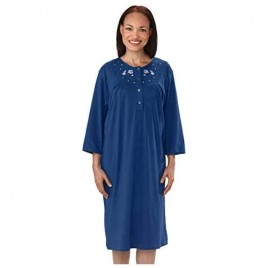 Silverts Disabled Elderly Needs Womens Adaptive Cotton Knit Hospital Gown Assisted Dressing