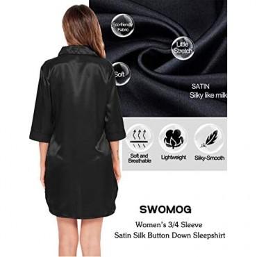SWOMOG Women's Satin Nightgown 3/4 Sleeve Nightshirt Button Down Sleepshirt Silk Sleepwear Pajama Top
