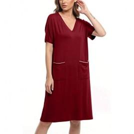 YYA Women Short Sleeve Nightgowns V Neck Sleepwear Night Shirts with Pockets Soft Sleepshirt S-3XL