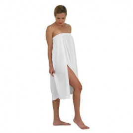 Canyon Rose Waffle Weave Long Spa Wrap Simple Body Wrap Luxurious Waffle Weave Knit One Size Fits Most Generous Length Elasticized Top with Touch-and-close Fasteners at Top and Waist White