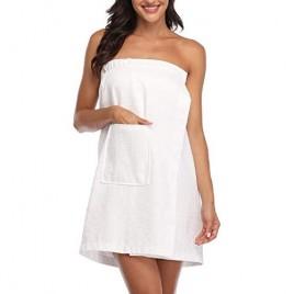FADSHOW Women's Waffle Spa Bath Wrap Towel Adjustable Closure Ultra Absorbent Cover Up