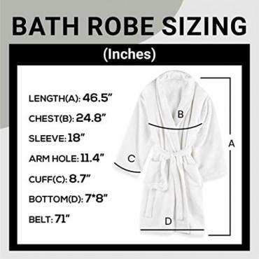 Premium Terry White Cotton Bathrobe Unisex - Luxurious Lightweight - Hotel Quality - Absorbent Soft Cotton