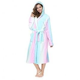 RONGTAI Fleece Womens Robe Lightweight Soft Plush Warm Bathrobes with Hood