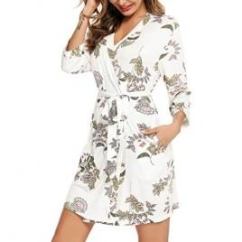 Samring Robe for Women Kimono Robes Soft Bamboo Sleepwear Short Knit Bathrobe Ladies Loungewear S-XXL
