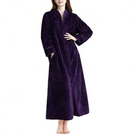 Soojun Women's Waffle Fleece Soft Zip Up Front Bathrobe