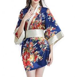 Women Kimono Robes Satin Gown and Blossoms Sleep Lounge Nightwear Short Silk Robe