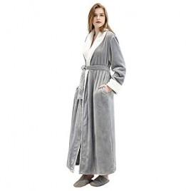 Women's Luxurious Fleece Bath Robe Plush Soft Warm Long Terry Bathrobe Full Length