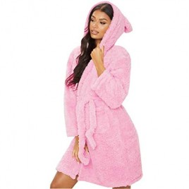 Womens Soft Cute Warm Long Fleece Plush Robe with Hood Animals Ears Bathrobe