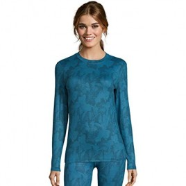 Hanes Womens 4-Way Stretch Thermal Crewneck XL Teal Combo
