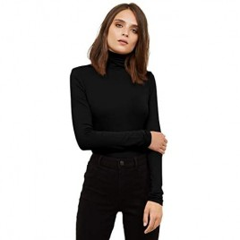 VIIOO Women's Long Sleeve Turtleneck Thermal T-Shirts Soft Fitted Pullover Cotton Tops