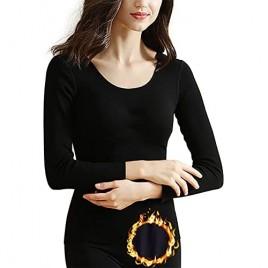 Womens Fleece Long Sleeve Shirts with Built-in-Bra Stretch Long John Tops Thermal Seamless Underwear Tee