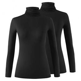 Xelky Womens Long Sleeve Turtleneck Shirt Lightweight Slim Turtle Neck Active Tops Basic Pullover Undershirt 2 Pack