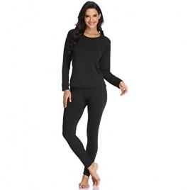 JZCreater Women Thermal Underwear Set Tight Base Layer Top & Bottom Long John Set Black