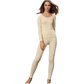 Liang Rou Women's Scoop Neck Long Johns Ultra Thin Modal Thermal Underwear Top & Bottom Set