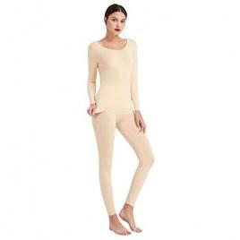 Mcilia Women's Ultrathin Modal Scoop Neck Baselayer Thermal Underwear Top & Bottom Set