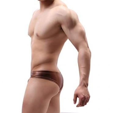 YOOBNG Men Bikini Briefs Underwear Comfort Shiny Low Rise Lightweight Shorts Trunks Bulge