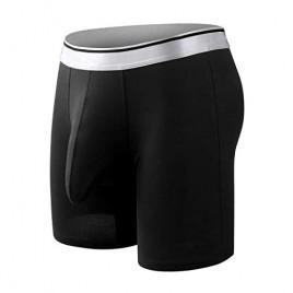 Mongous Men's Underwear Soft Solid Color Elephant Nose Mesh Boxer Briefs Stretch Large Size U Convex