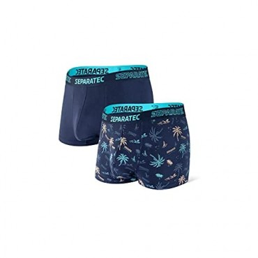 Separatec Men's Underwear Bamboo Rayon Comfort Cool Dual Pouch Trunks 2-3 Pack