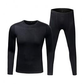 Mersteyo Mens Thermal Underwear Set Ultra-Soft Long John Top&Bottom Suit Quick Dry for Ski Warm Winter Black XX-Large