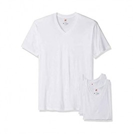 Hanes Tall Men's 3-Pack V-Neck T-Shirt with X-Temp Technology White