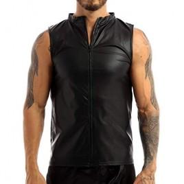 YiZYiF Mens Fashion Faux Leather Round Neck Sleeveless T-Shirt Slim Fit Undershirt Tank Top Vest