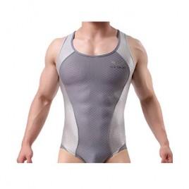 BRAVE PERSON Men's Figure-Shape Bodysuits Elastic Workout Clothes Swimwear Fitness Cycling 2241